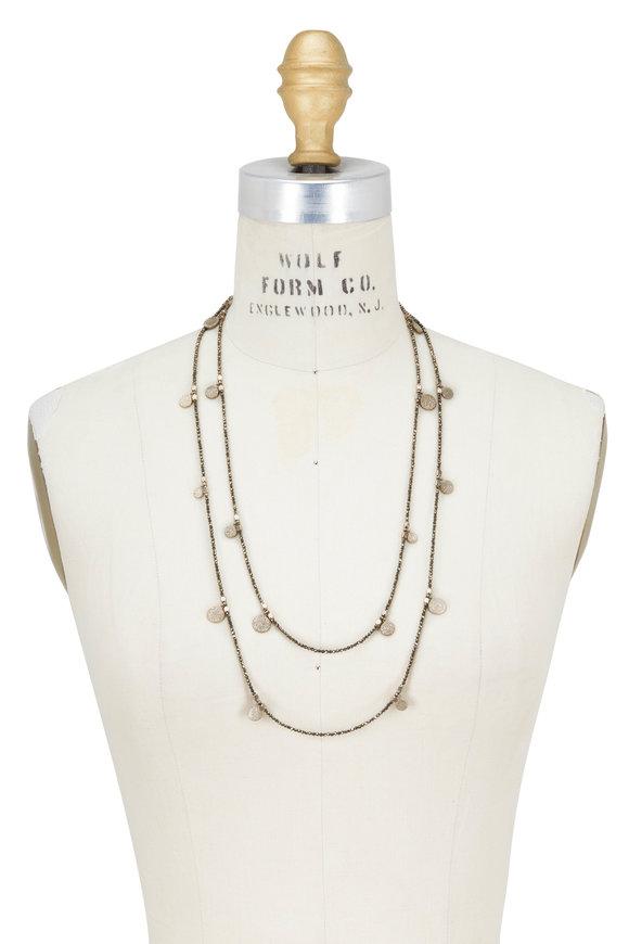 Brunello Cucinelli Gold Pirite Dangle Wrap Convertible Necklace