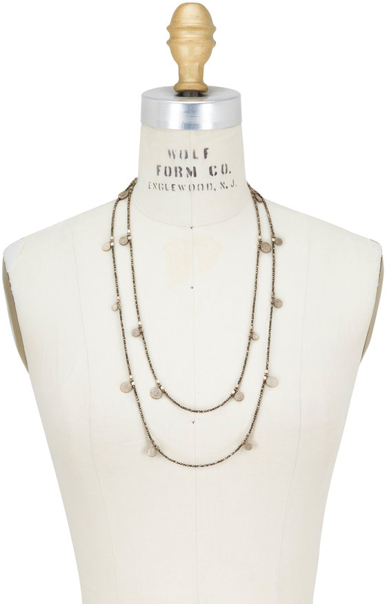 Brunello Cucinelli Gold Pirite Dangle Wrap Convertible Necklace