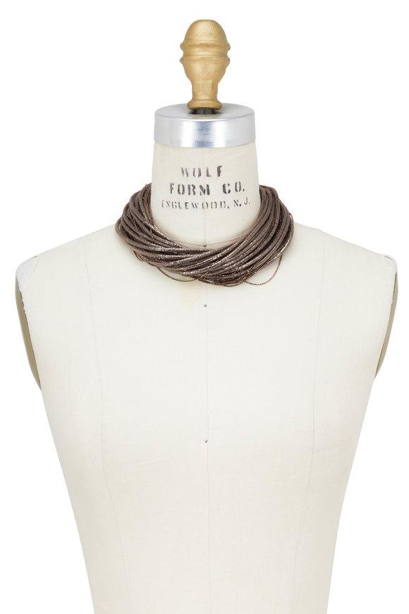 Brunello Cucinelli Graphite Leather & Monili Multi Layer Necklace