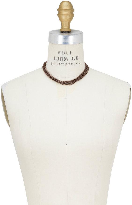 Brunello Cucinelli Dark Brown Monili Multi Layer Necklace