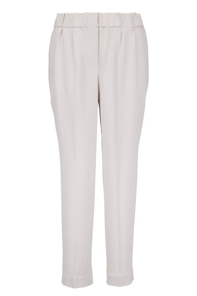 Brunello Cucinelli - Oyster Silk Pull-On Ankle Pant