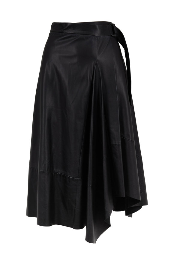 Brunello Cucinelli Black Leather Belted Wrap Skirt
