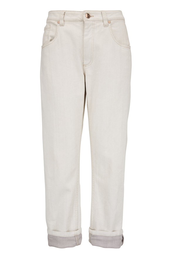 Brunello Cucinelli Light Gray Stretch Cotton Monili Cuff Jean