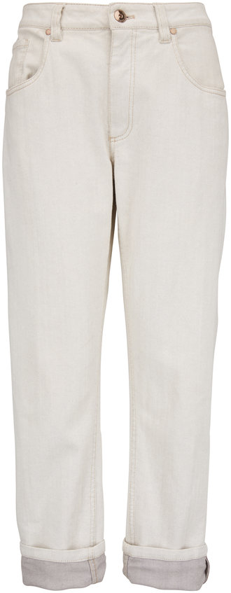 Brunello Cucinelli Light Gray Stretch Cotton Monili Cuff Jean
