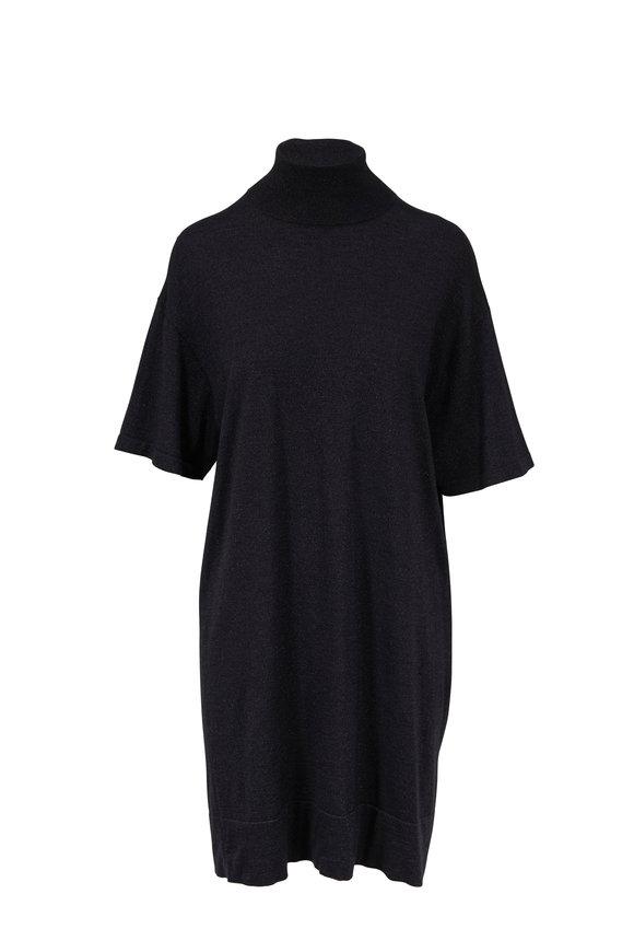 Brunello Cucinelli Onyx Cashmere, Silk, & Lurex Turtleneck Dress
