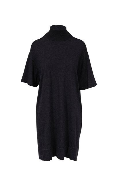 Brunello Cucinelli - Onyx Cashmere, Silk, & Lurex Turtleneck Dress