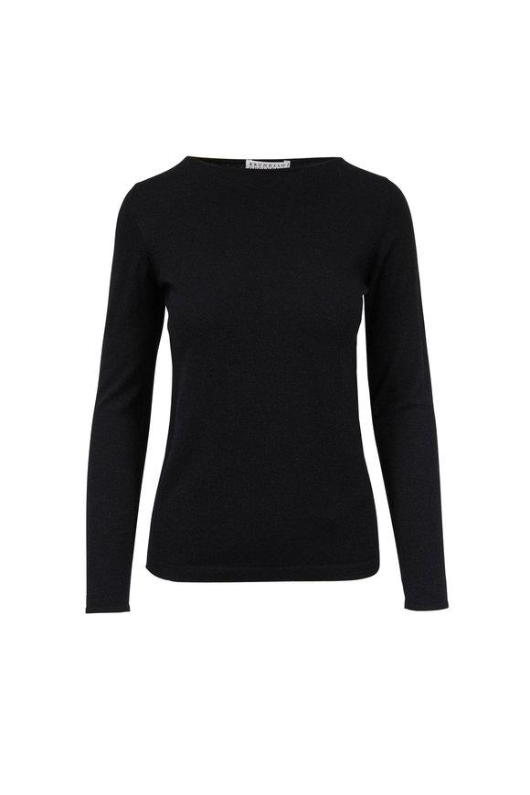 Brunello Cucinelli Black Cashmere, Silk & Lurex Bateau Neck Sweater