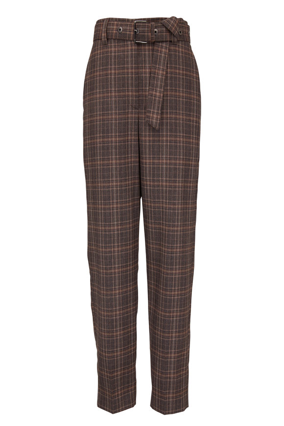Brunello Cucinelli Brown & Beige Wool Plaid Belted Pant