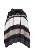 Brunello Cucinelli - Midnight Wool, Mohair & Alpaca Zip Striped Poncho