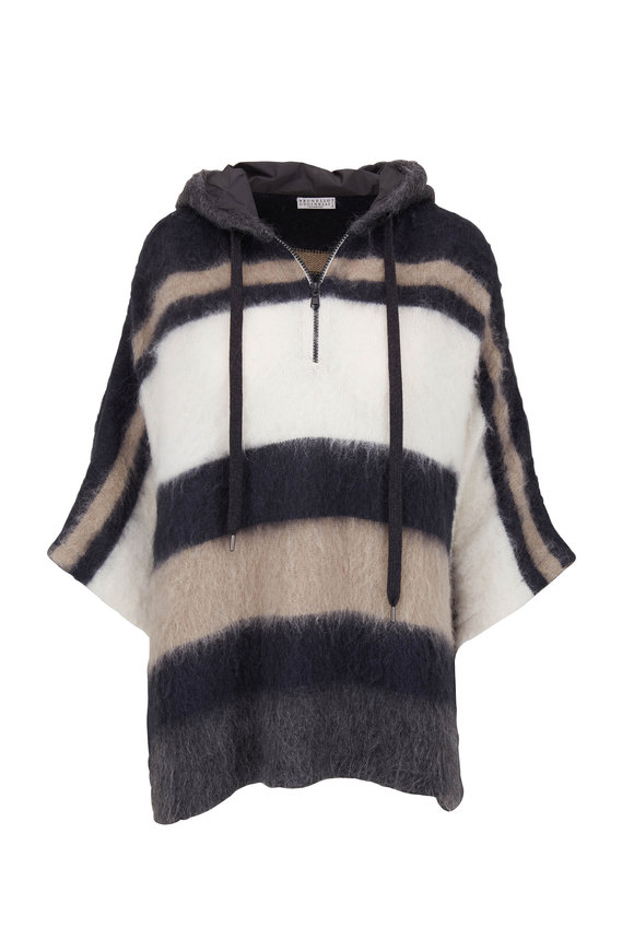 Brunello Cucinelli Midnight Wool, Mohair & Alpaca Zip Striped Poncho