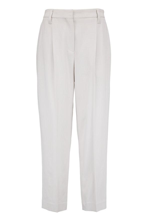 Brunello Cucinelli Salt Wool Front Pleat Pant