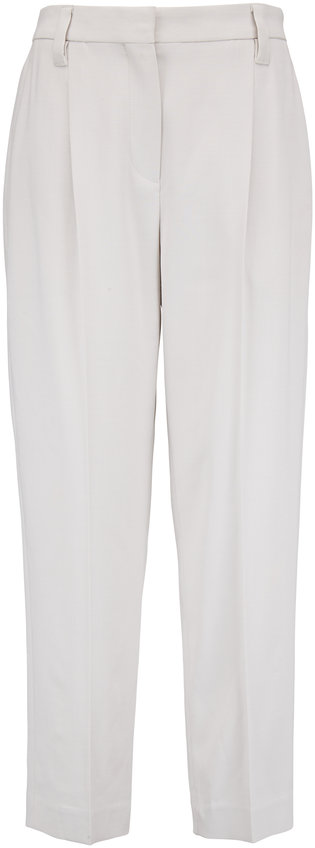 Brunello Cucinelli Salt Wool Front Pleat Pant