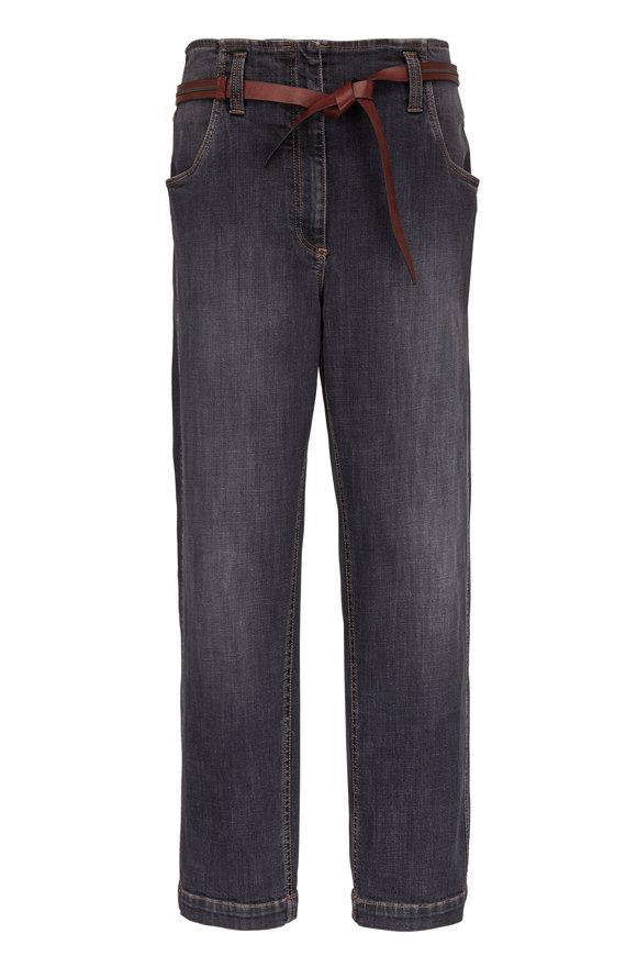 Brunello Cucinelli Dark Denim High-Rise Belted Jean