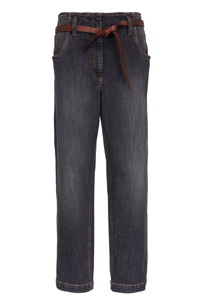 Brunello Cucinelli - Dark Denim High-Rise Belted Jean