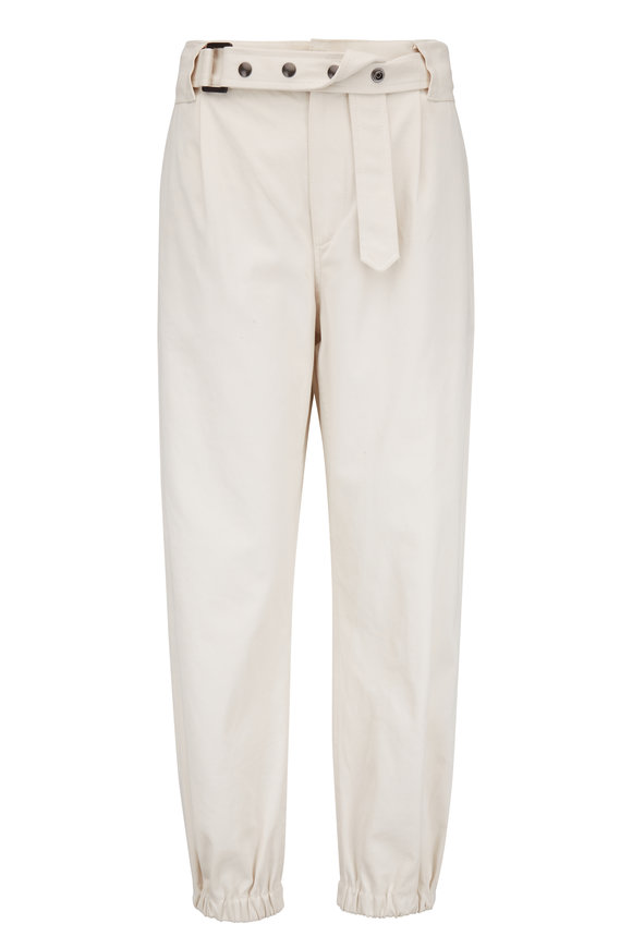 Brunello Cucinelli Ivory Cotton Twill Belted Pant