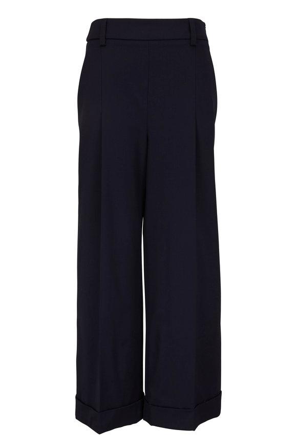Brunello Cucinelli Midnight Wool & Nylon Wide Leg Pant