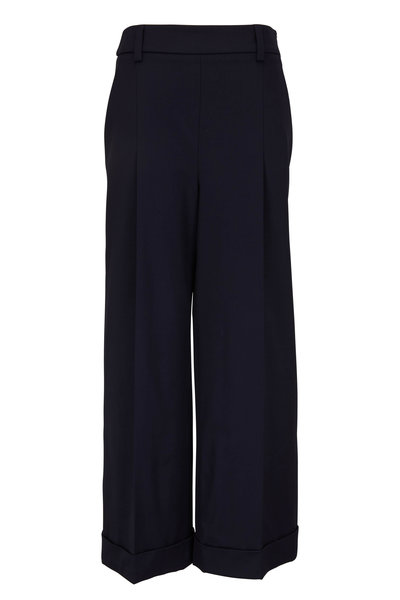 Brunello Cucinelli - Midnight Wool & Nylon Wide Leg Pant