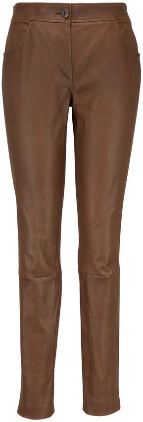 Brunello Cucinelli Caribou Leather Front Zip Legging