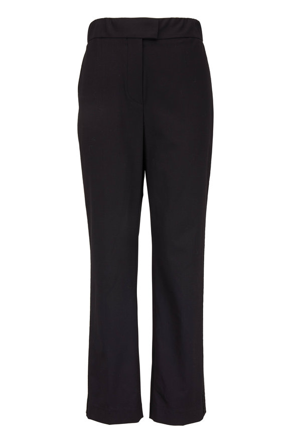 Brunello Cucinelli Black Stretch Wool Satin Track Stripe Pant