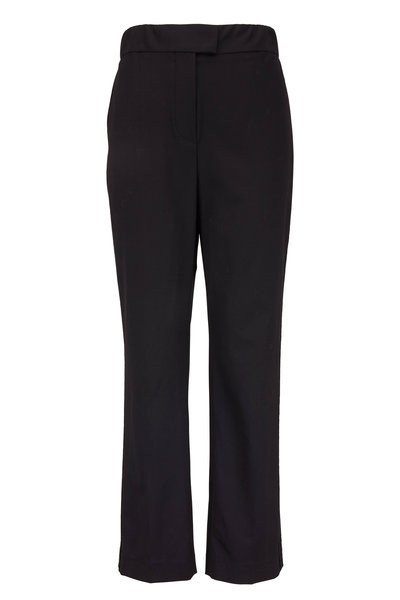 Brunello Cucinelli - Black Stretch Wool Satin Track Stripe Pant
