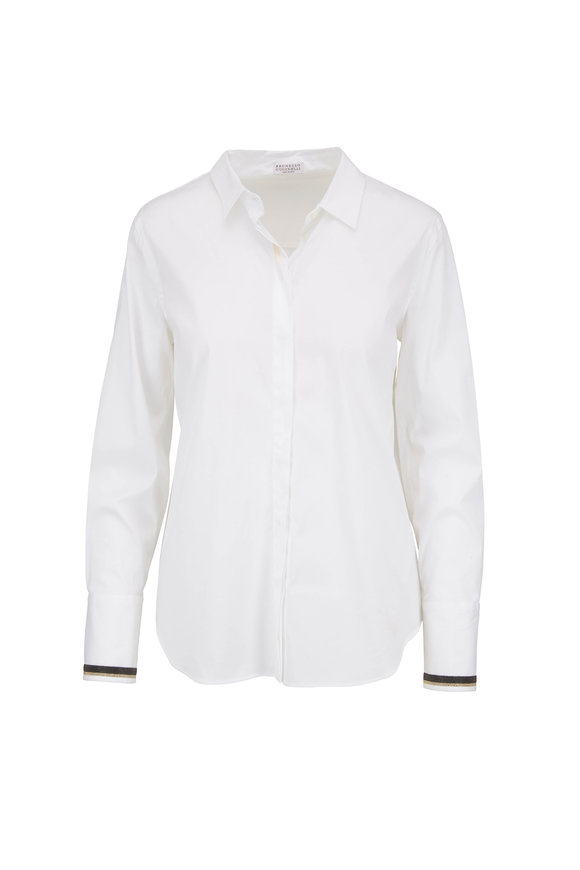 Brunello Cucinelli White Poplin Monili Cuff Button Down Blouse
