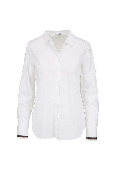 Brunello Cucinelli - White Poplin Monili Cuff Button Down Blouse