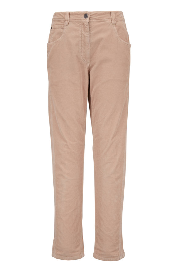 Brunello Cucinelli Sand Cotton & Cashmere Corduroy Five Pocket Pant
