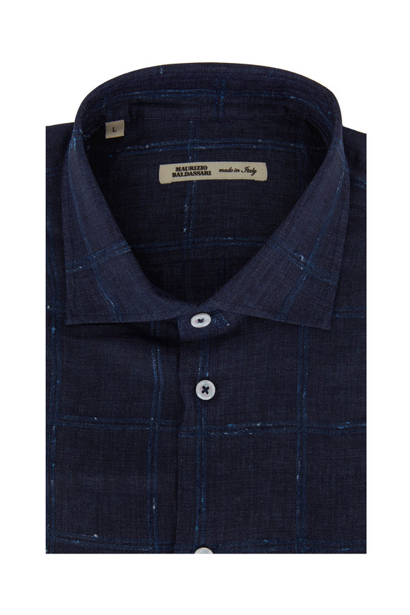 Maurizio Baldassari Navy Blue Windowpane Linen Blend Sport Shirt