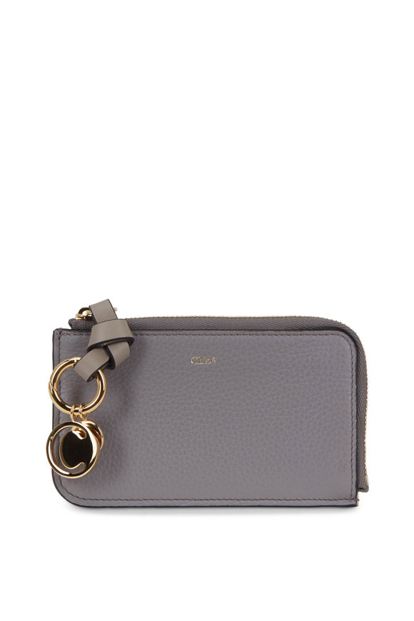 Chloé Cashmere Gray Leather Zip Card Case