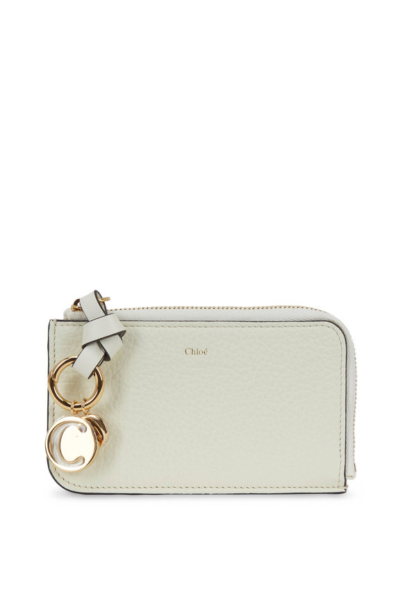 Chloé Natural White Leather Zip Card Case
