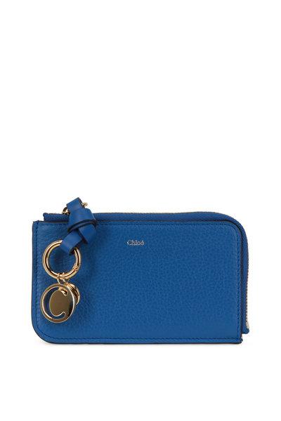 Chloé - Smoky Blue Leather Zip Card Case