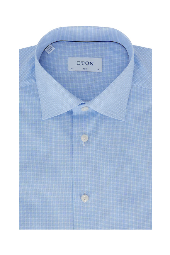 Eton Blue Micro Print Slim Fit Dress Shirt