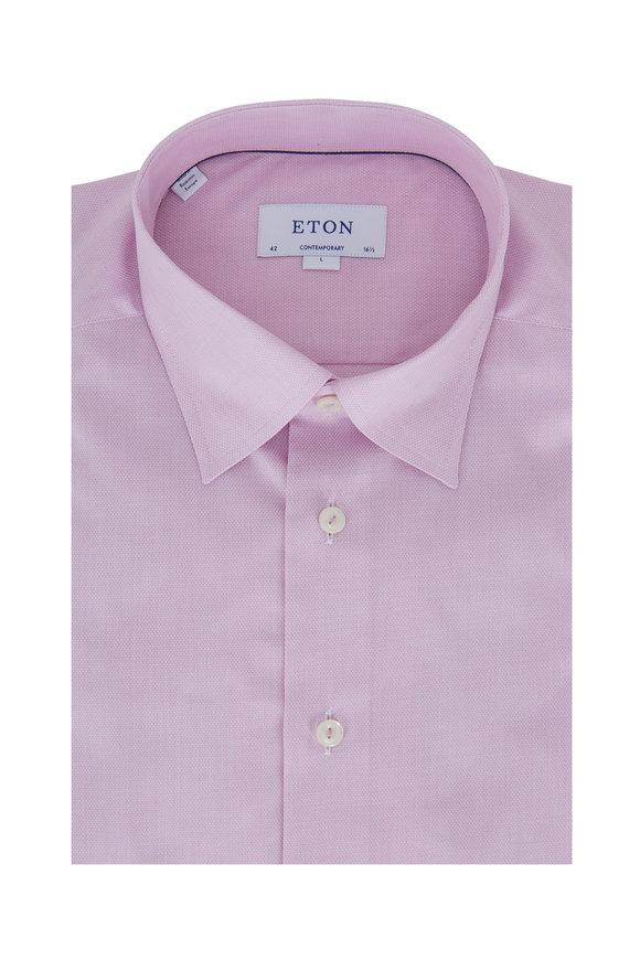 Eton Raspberry Textured Contemporary Fit Dress Shirt