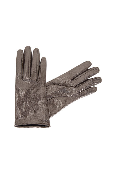 Brunello Cucinelli - Silver Metallic Crackled Leather Gloves