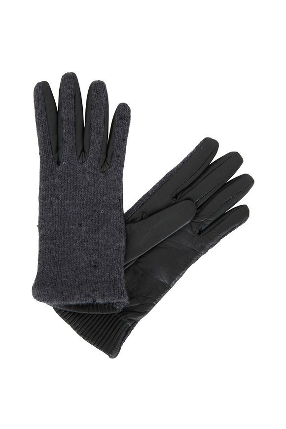 Brunello Cucinelli Dark Green Cashmere & Leather Paillette Gloves