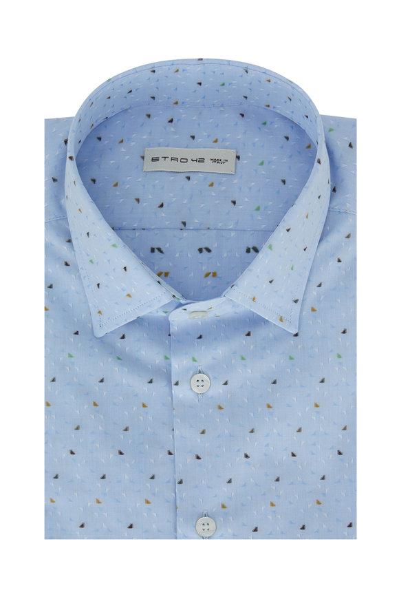 Etro Light Blue Printed Sport Shirt