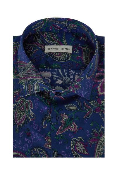 Etro - Navy Blue Paisley Sport Shirt