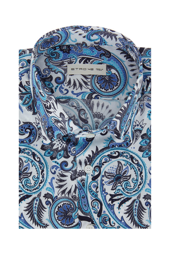 Etro White & Blue Paisley Sport Shirt