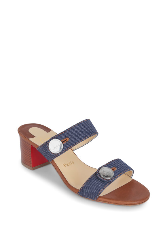 Christian Louboutin Sand Blue Two-Band Mule, 55mm