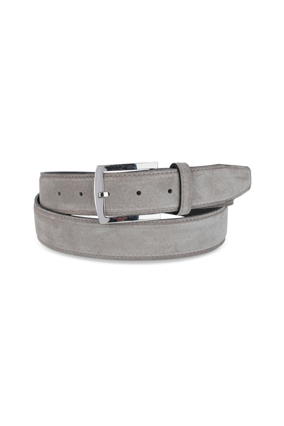 Kiton Light Gray Suede Belt