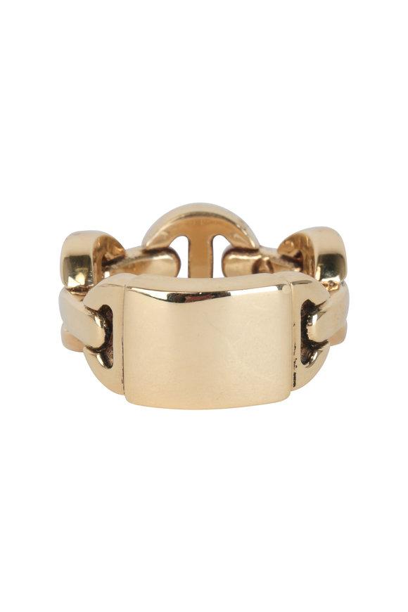 Hoorsenbuhs 18K Yellow Gold Classic Monogram Tri Link Ring