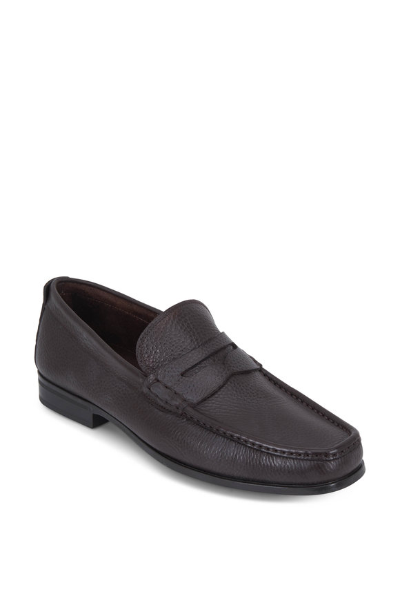 Santoni Holt Dark Brown Grained Leather Penny Loafer