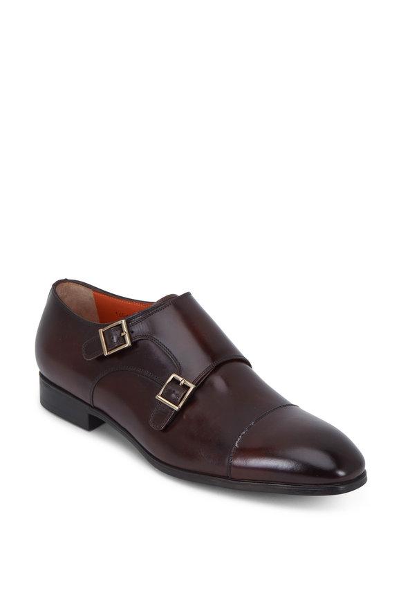 Santoni Inca Simon Dark Brown Double Buckle Monk Shoe