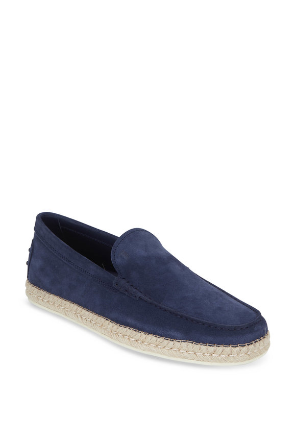 Tod's Gomma Navy Blue Suede Espadrille Loafer
