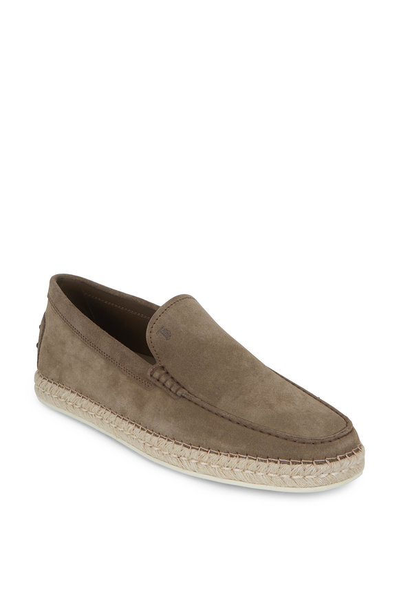 Tod's Gomma Sand Suede Espadrille Loafer