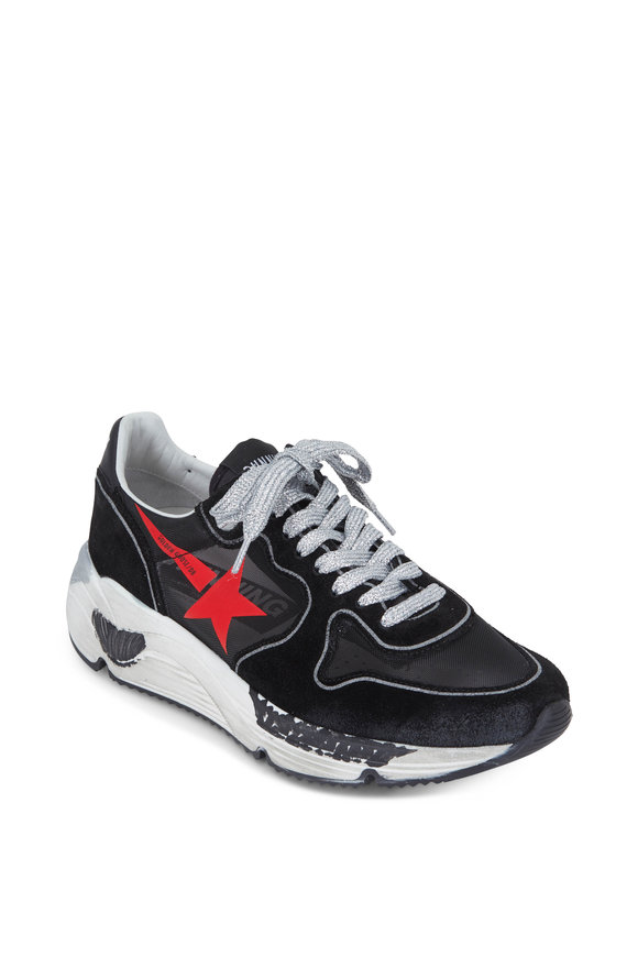 Golden Goose Black Mesh & Suede With Red Star Running Sneaker