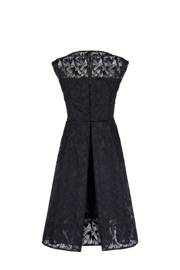 Akris Black Cap-Sleeve Embroidered Organza Apron Dress