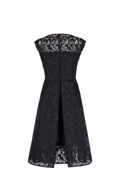 Akris - Black Cap-Sleeve Embroidered Organza Apron Dress