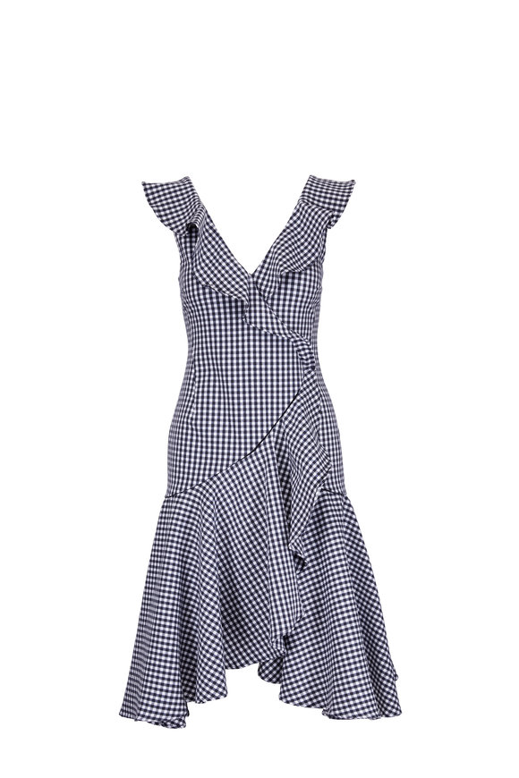 Jonathan Simkhai Black & White Gingham Ruffle Dress