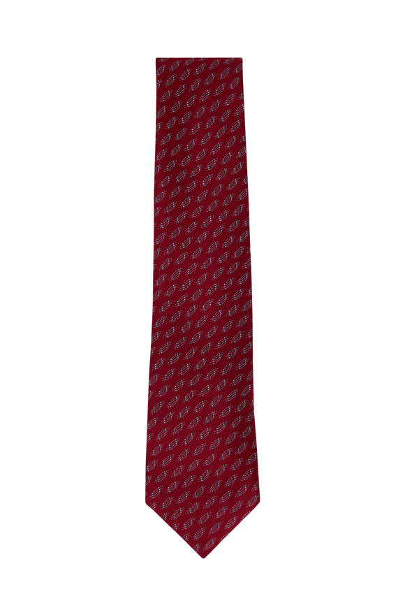 Charvet Red Geometric Silk Necktie